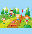 children playing in park vector image