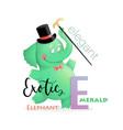 abc alphabet for kids elephant for letter e vector image