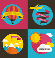 Air balloon sun and airplane backgrounds vector image vector image