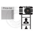 black camera on a white background vector image vector image