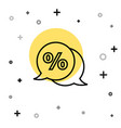 black line discount percent tag icon isolated on vector image vector image