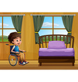 Boy and bedroom vector image