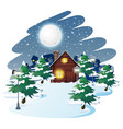 cabin in winter background vector image vector image