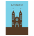 Catholic cathedral icon Christianity building vector image