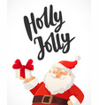 christmas card holly jolly hand drawn text funny vector image vector image