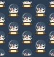 christmas snow globe with penguins seamless vector image vector image