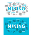 cryptocurrency mining and digital money icons vector image
