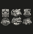 custom cars vintage monochrome logos vector image vector image