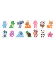 cute animals cartoon bapets and forest wild vector image vector image