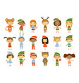 cute little kids wearing christmas costumes set vector image vector image