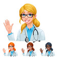 doctor with different hair and skin colors vector image vector image