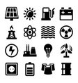 Electricity Energy and Power Icons Set vector image vector image