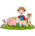 farmer with farm animals in grass vector image vector image