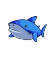 fish monster cute blue shark swimming in deep sea vector image vector image