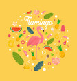 flamingo with fruits and desserts in summer vector image vector image