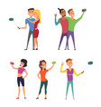 funny characters male and female make selfie vector image