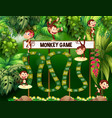 game template with monkeys in jungle vector image vector image