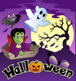 halloween scenery with sign 3 vector image vector image