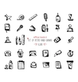 Hand-drawn sketch office tools icon set Black on vector image vector image