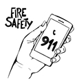 Hand holding mobile phone with number 911 vector image vector image
