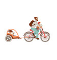 happy father riding a bicycle with two kids vector image