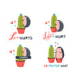 hedgehog and cactus cute funny couple collection vector image