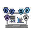 laptop with shield crypto money vector image