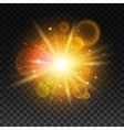 Luminous bright light flash with lens flare vector image vector image