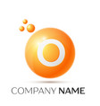 o letter splash orange dots and circle bubble vector image vector image