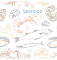 seafood set pattern vector image vector image