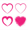 Set of Hand Drawn Grunge Hearts vector image