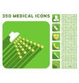 Shower Icon and Medical Longshadow Icon Set vector image