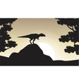 Silhouette of mapusaurus at sunrise vector image vector image