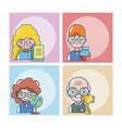 students and teachers cartoons vector image vector image