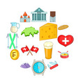 switzerland travel icons set cartoon style vector image vector image