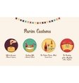 symbols of Jewish holiday purim infographics vector image vector image