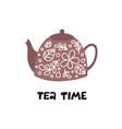 tea time teapot with floral design elements vector image