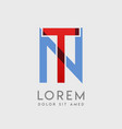 tn logo letters with blue and red gradation vector image vector image