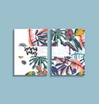 tropical palm leaves card design vector image vector image