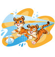 two cute jumping dynamic tiger cartoon character vector image