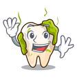 waving cartoon unhealthy decayed teeth in mouth vector image