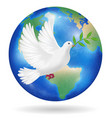 white pigeon flying over earth planet vector image