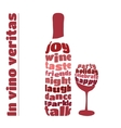 wine bottle and glass in typography style vector image vector image