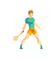 young man playing tennis male sportsman character vector image vector image