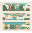 Horizontal banners with kids playing outdoor vector image