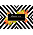 autumn leaves card striped background retro look vector image vector image