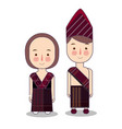 batak couple traditional national clothes of vector image