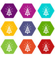 beautiful christmas tree icons set 9 vector image vector image