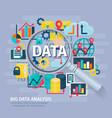 Big Data Analysis concept Flat Poster vector image vector image