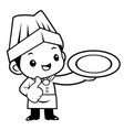 black and white happy cook mascot is holding a vector image vector image
